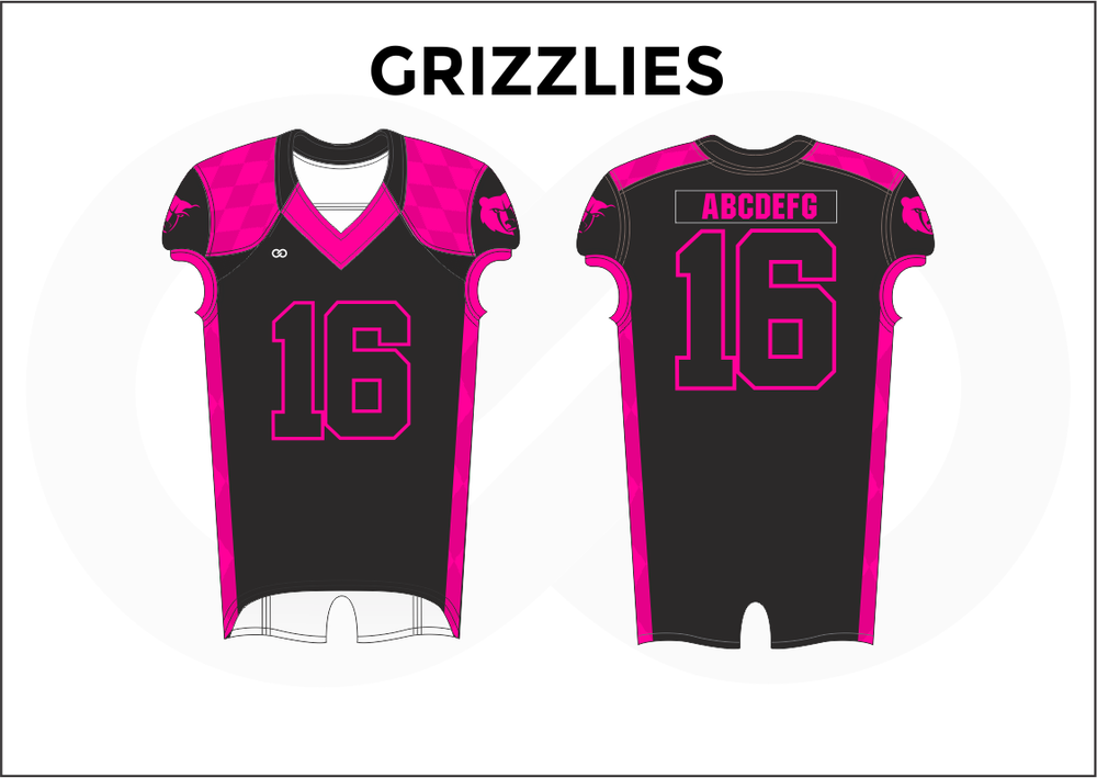 GRIZZLIES Purple Pink and Black Men's Football Jerseys