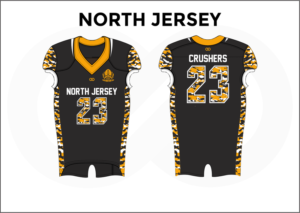 NORTH JERSEY Black White and Yellow Men's Football Jerseys