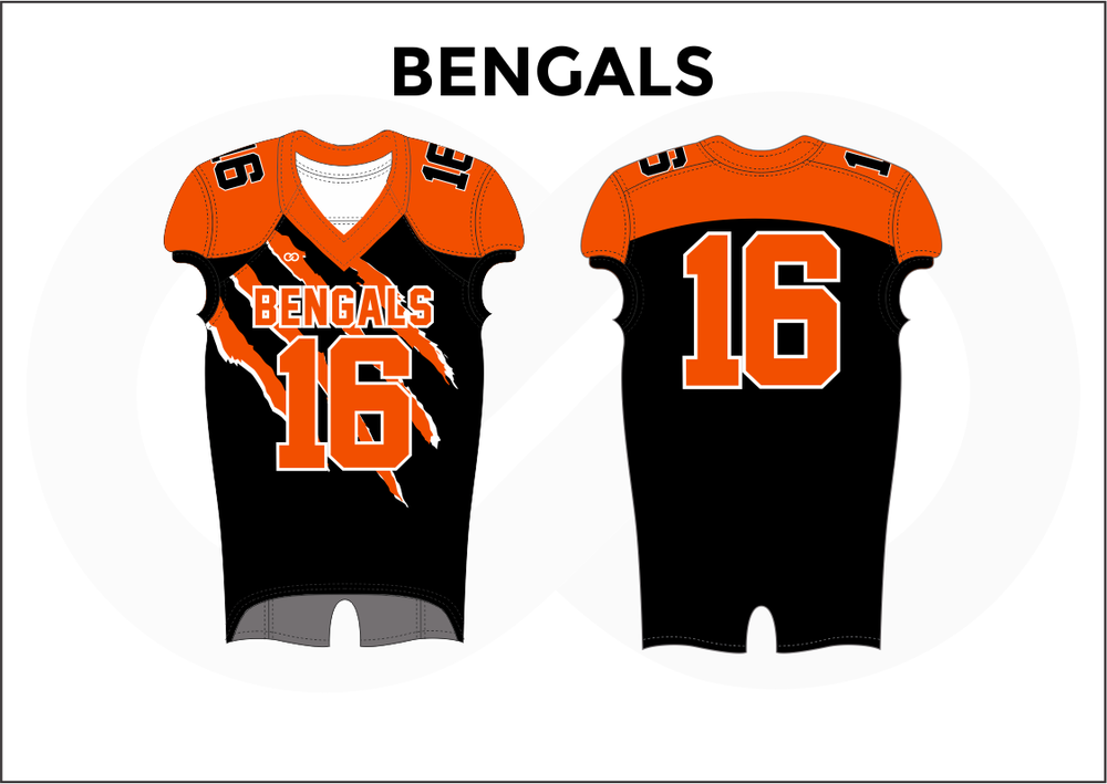 BENGALS Black Orange and White Youth Boy's Football Jerseys