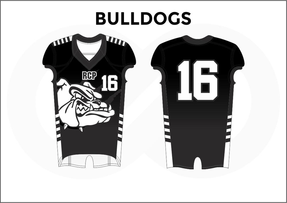 BULLDOGS Black and White Youth Boy's Football Jerseys
