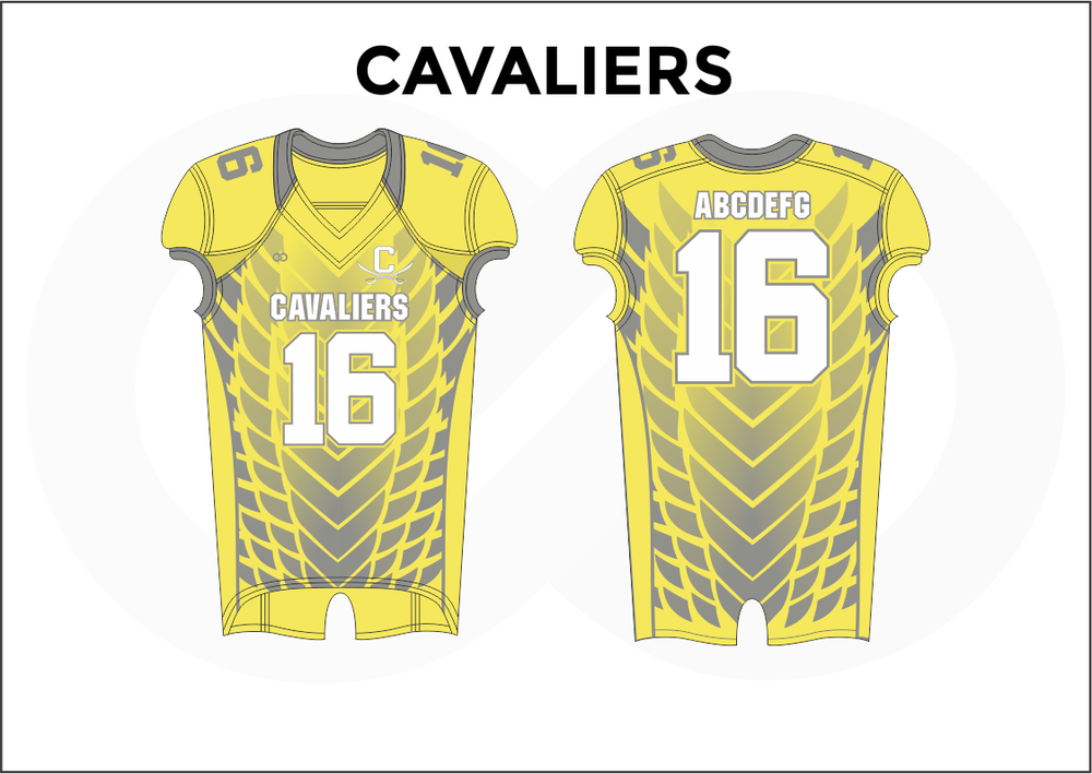 CAVALIERS Gray White and Yellow Youth Boy's Football Jerseys