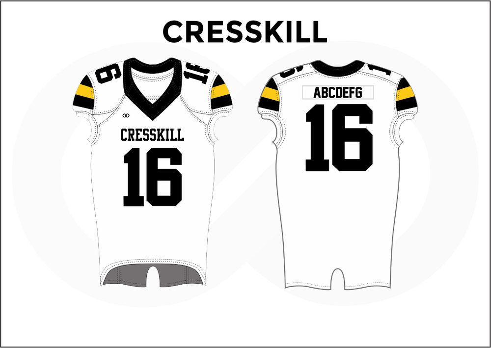 CRESSKILL Black White and Yellow Youth Boy's Football Jerseys