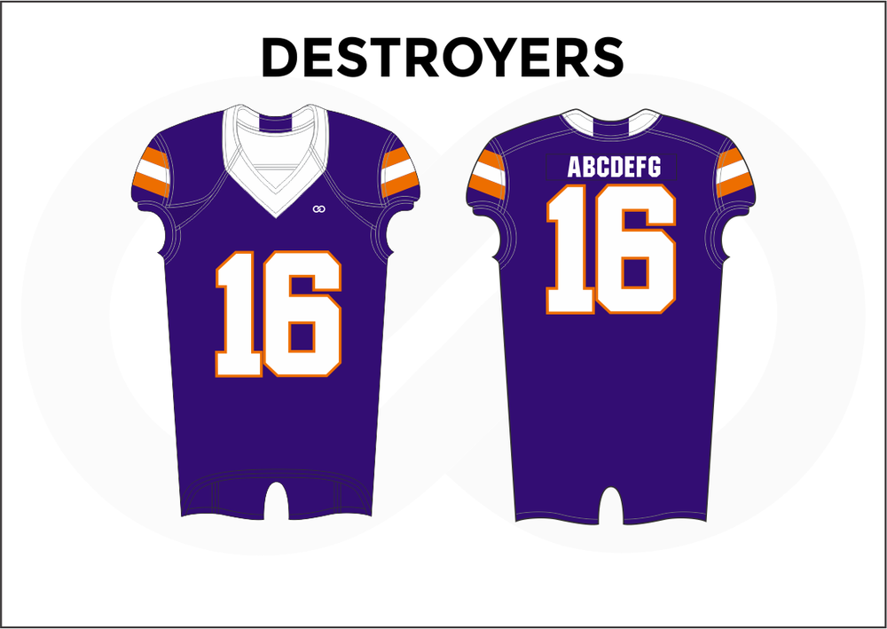 DESTROYERS Violet Orange and White Youth Boy's Football Jerseys