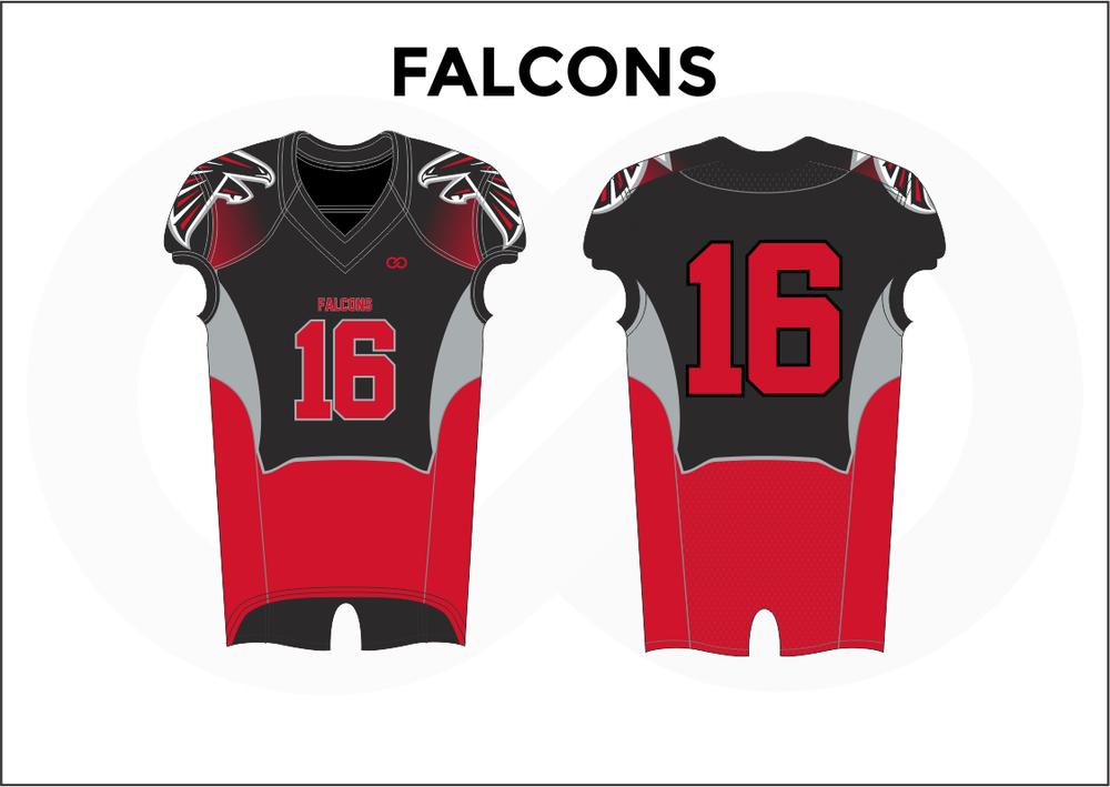FALCONS Gray Black and Red Youth Boy's Football Jerseys