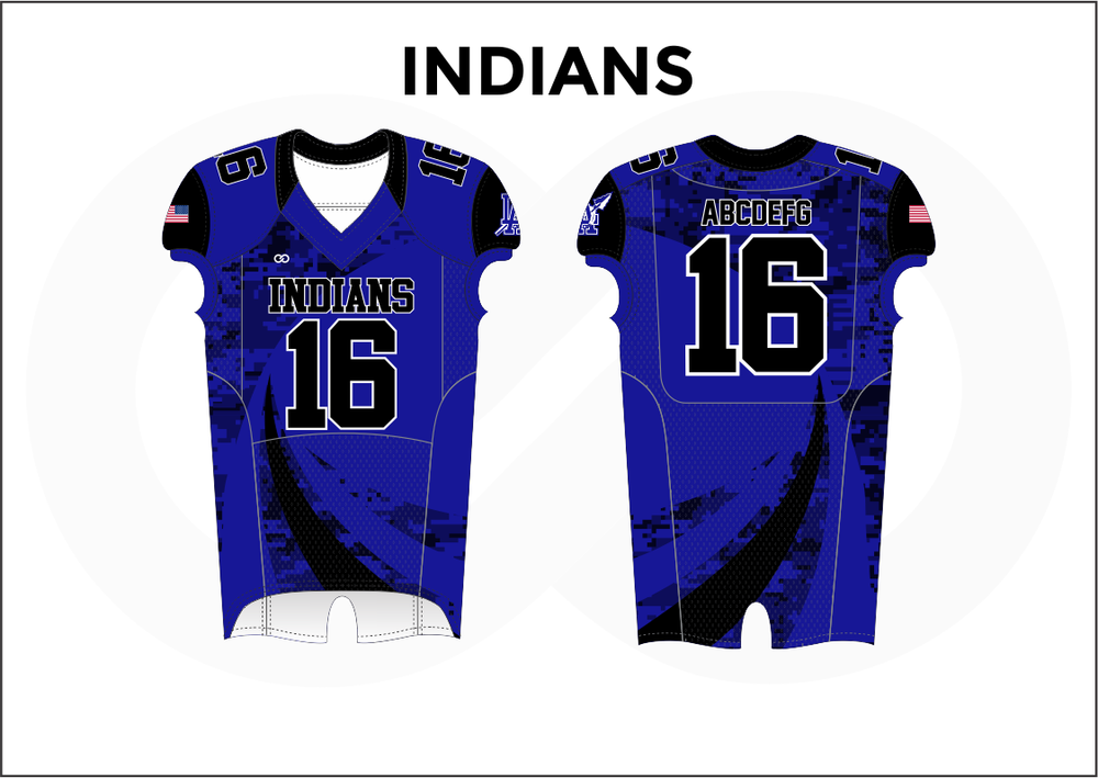 INDIANS Black Blue and White Youth Boy's Football Jerseys