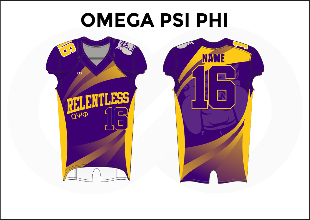 OMEGA PSI PHI Violet White and Yellow Youth Boy's Football Jerseys