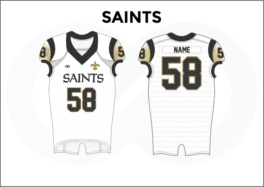 SAINTS Black Brown and White Youth Boy's Football Jerseys