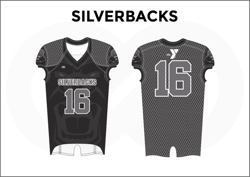 SILVERBACKS Black Gray and White Youth Boy's Football Jerseys