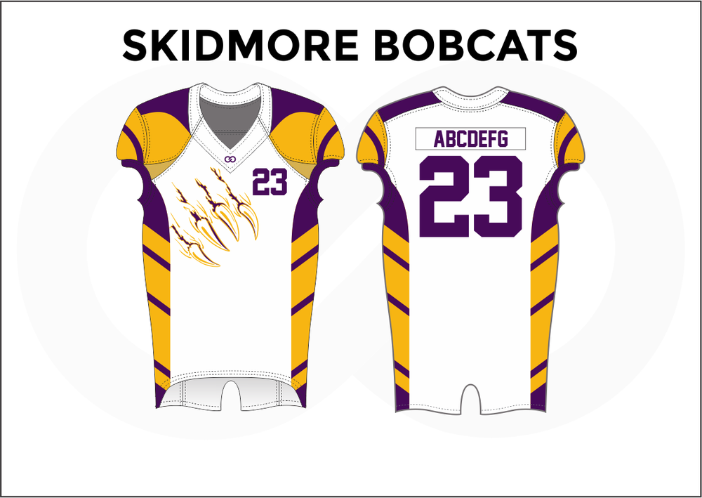 SKIDMORE BOBCATS Violet White and Yellow Youth Boy's Football Jerseys