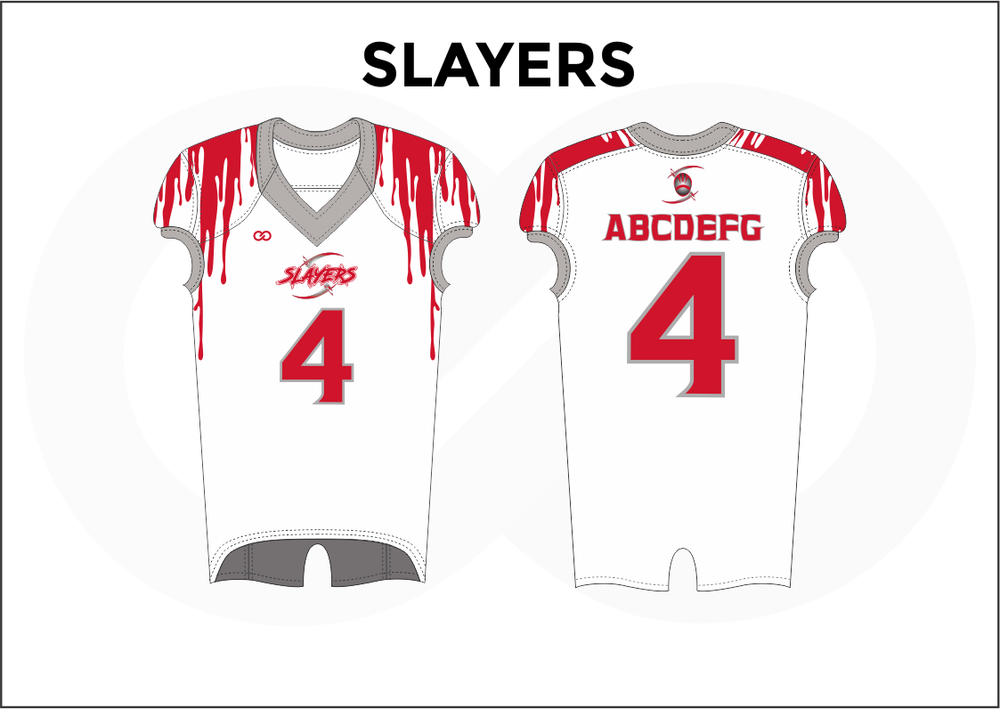 SLAYERS Gray White and Red Youth Boy's Football Jerseys