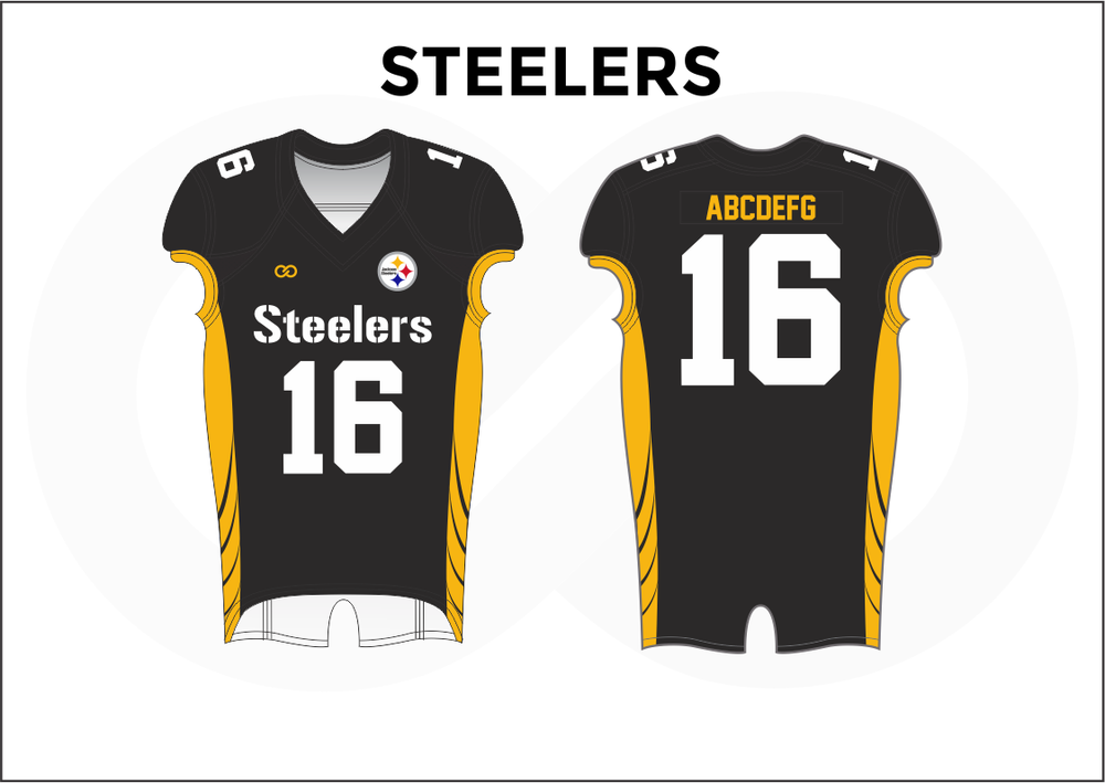 STEELERS Black White and Yellow Youth Boy's Football Jerseys