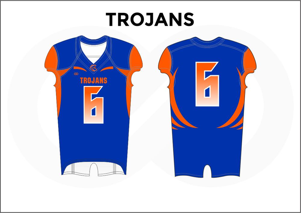 TROJANS Blue White and Orange Youth Boy's Football Jerseys