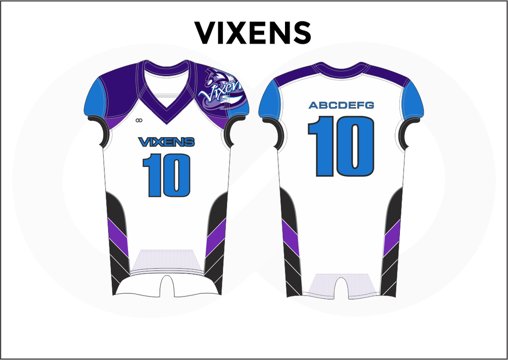VIXENS Violet Blue Black and White Youth Boy's Football Jerseys