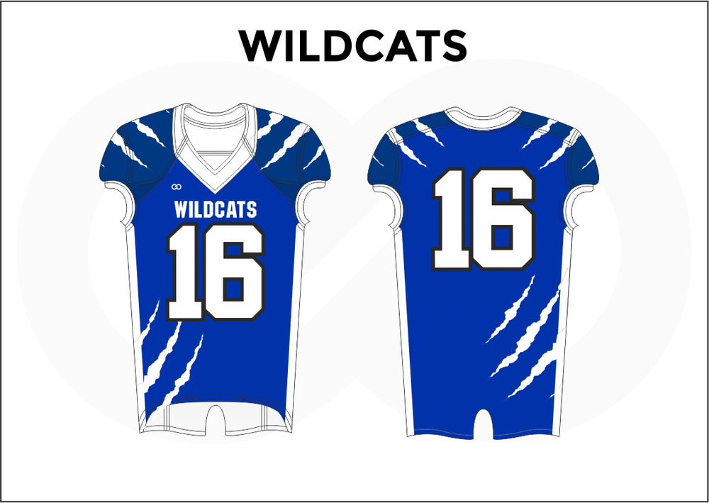 WILDCATS Blue and White Youth Boy's Football Jerseys