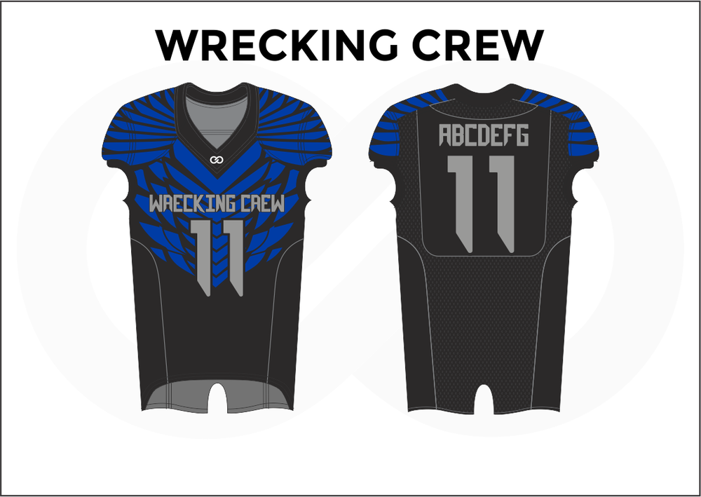 WRECKING CREW Gray Black and Blue Youth Boy's Football Jerseys