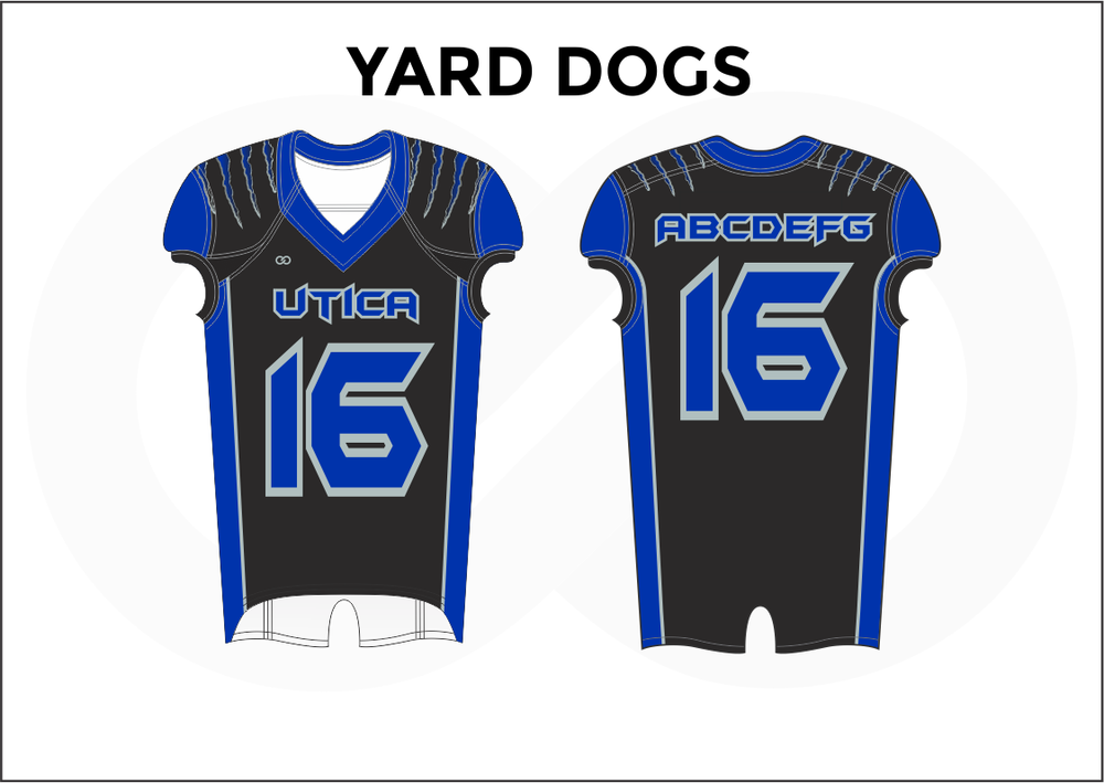 YARD DOGS Blue and Black Youth Boy's Football Jerseys