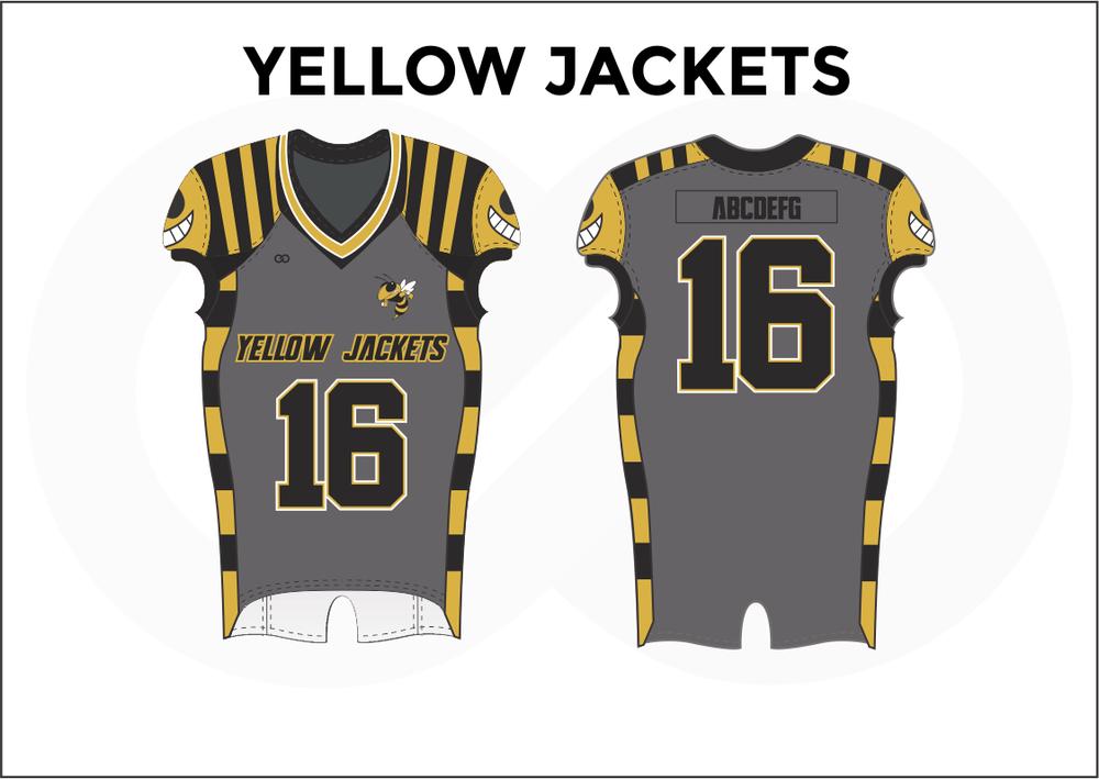 YELLOW JACKETS Gray White Yellow and Black Youth Boy's Football Jerseys