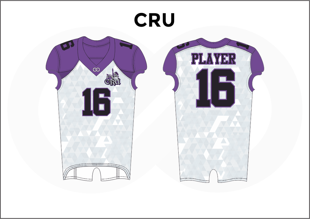 CRU Violet White and Black Kid's Football Jerseys