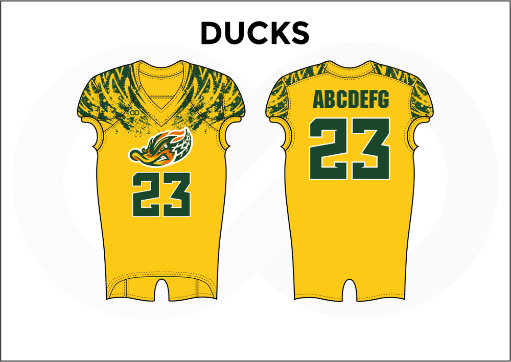 DUCKS Green White and Yellow Kid's Football Jerseys