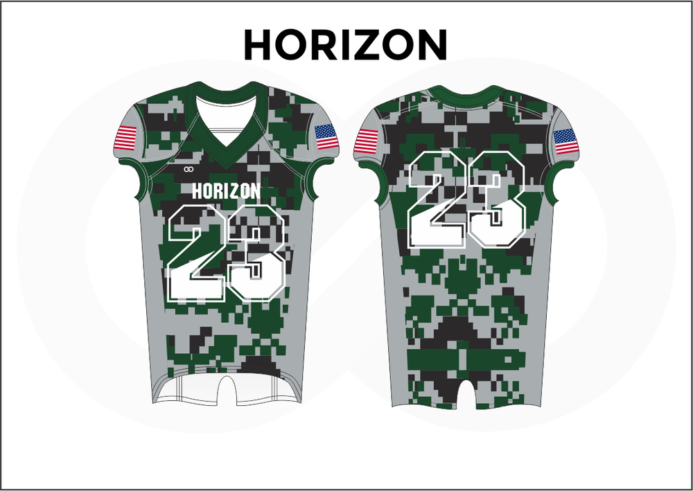 HORIZON Gray White Pink Black and Green Kid's Football Jerseys