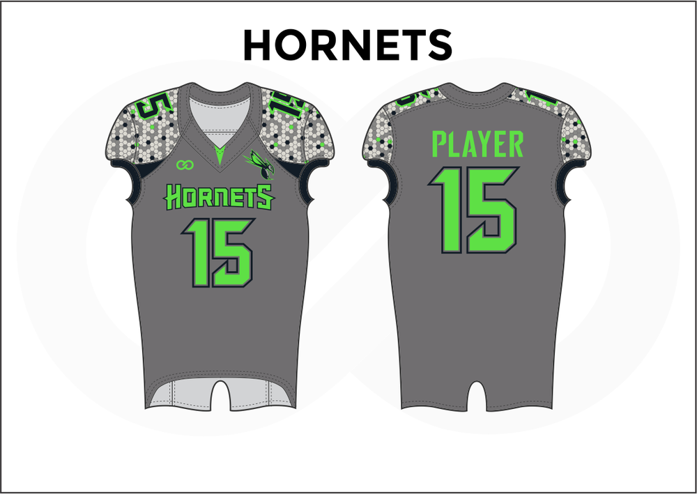 HORNETS Gray White Black and Green Kid's Football Jerseys