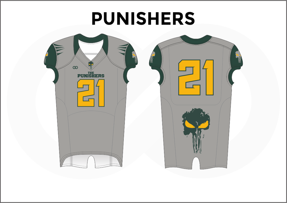 PUNISHERS Gray Green and Yellow Kid's Football Jerseys