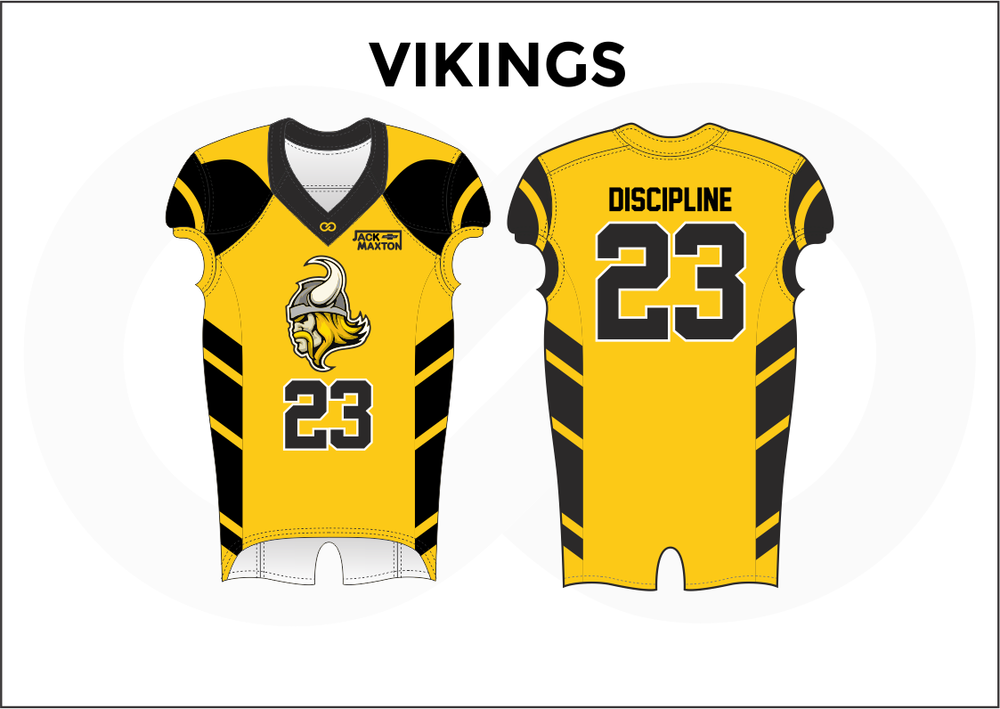 VIKINGS Black Gray White and Yellow Kid's Football Jerseys