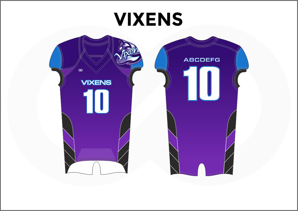 VIXENS Violet Blue Black and White Kid's Football Jerseys