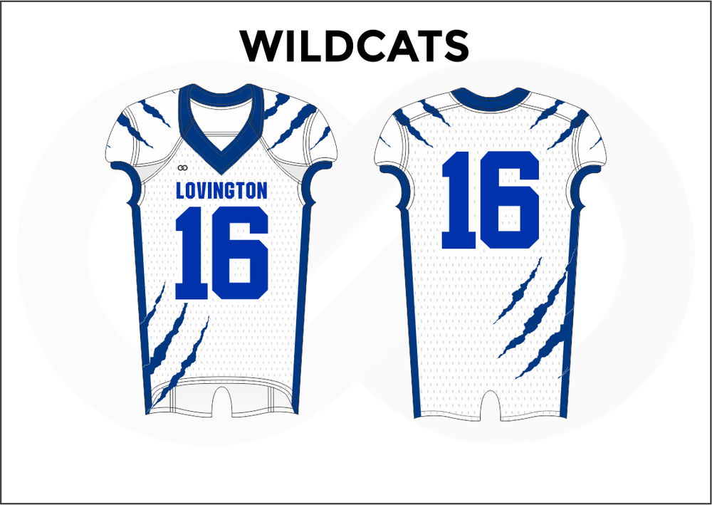 WILDCATS Blue and White Kid's Football Jerseys