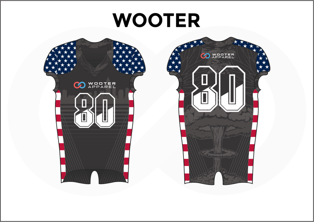 WOOTER Blue Black White and Red Kid's Football Jerseys