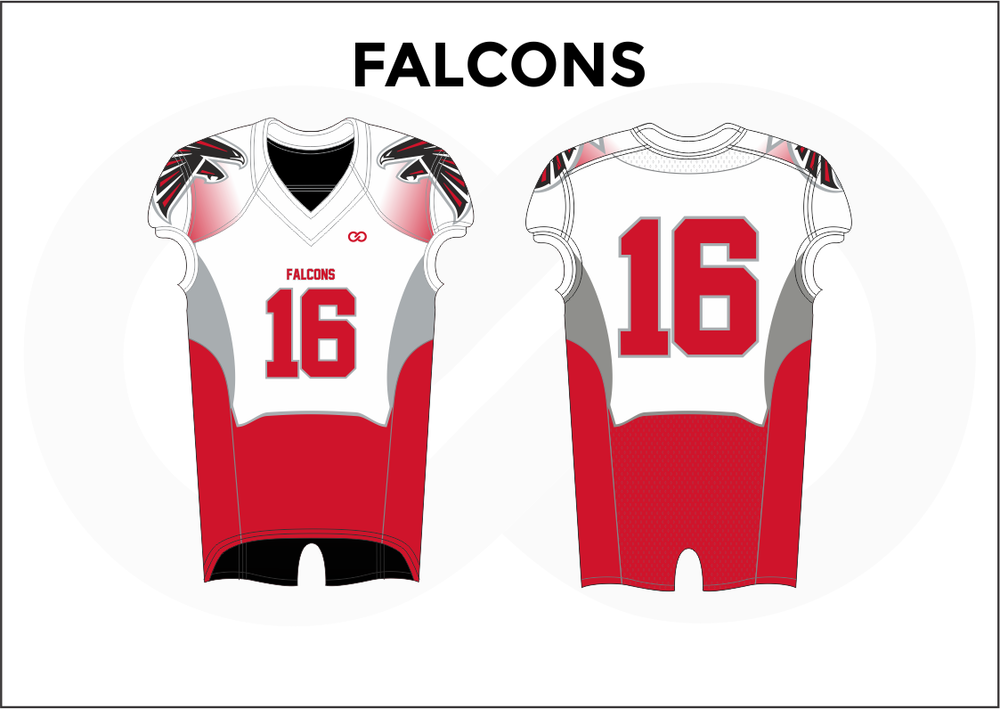 FALCONS White Black and Red Women's Football Jerseys
