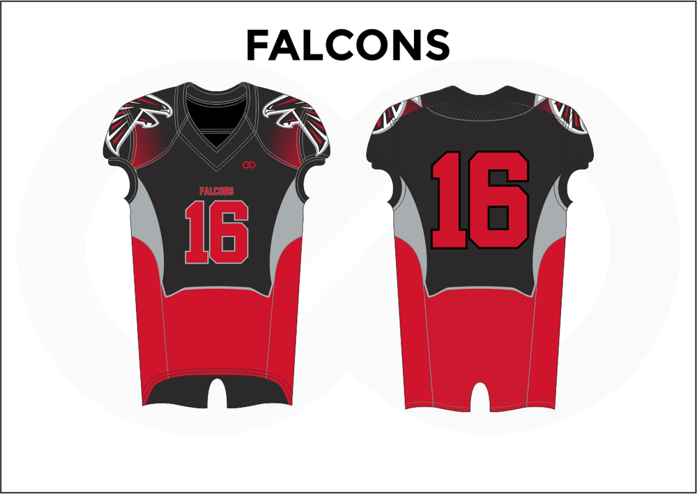 FALCONS Gray Black White and Red Women's Football Jerseys