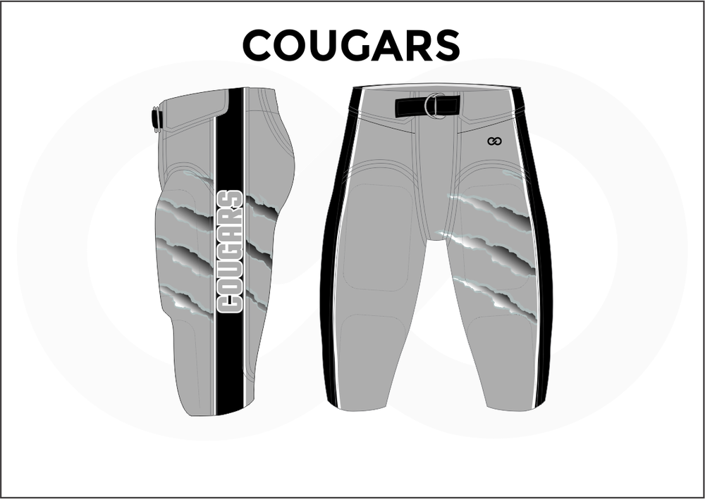 COUGARS Gray White and Black Men's Football Pants