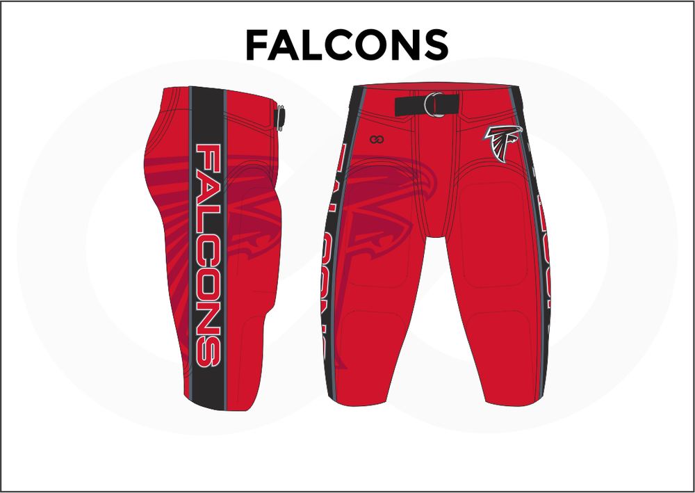 FALCONS Black and Red Men's Football Pants