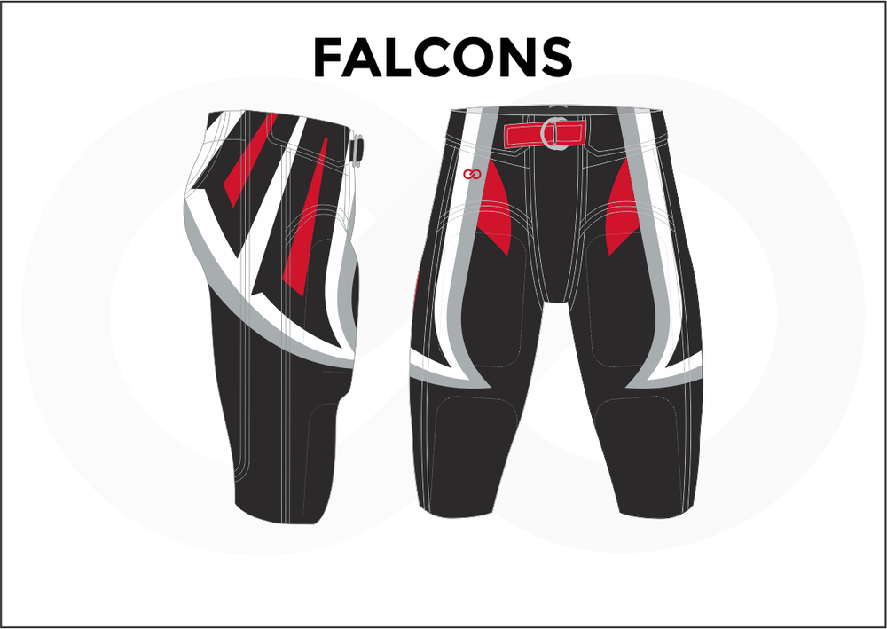 FALCONS Black Red and White Men's Football Pants