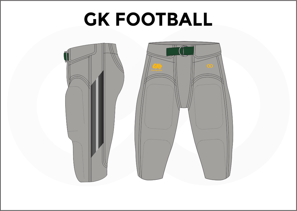 GK Football Gray White Yellow Green and Black Men's Football Pants