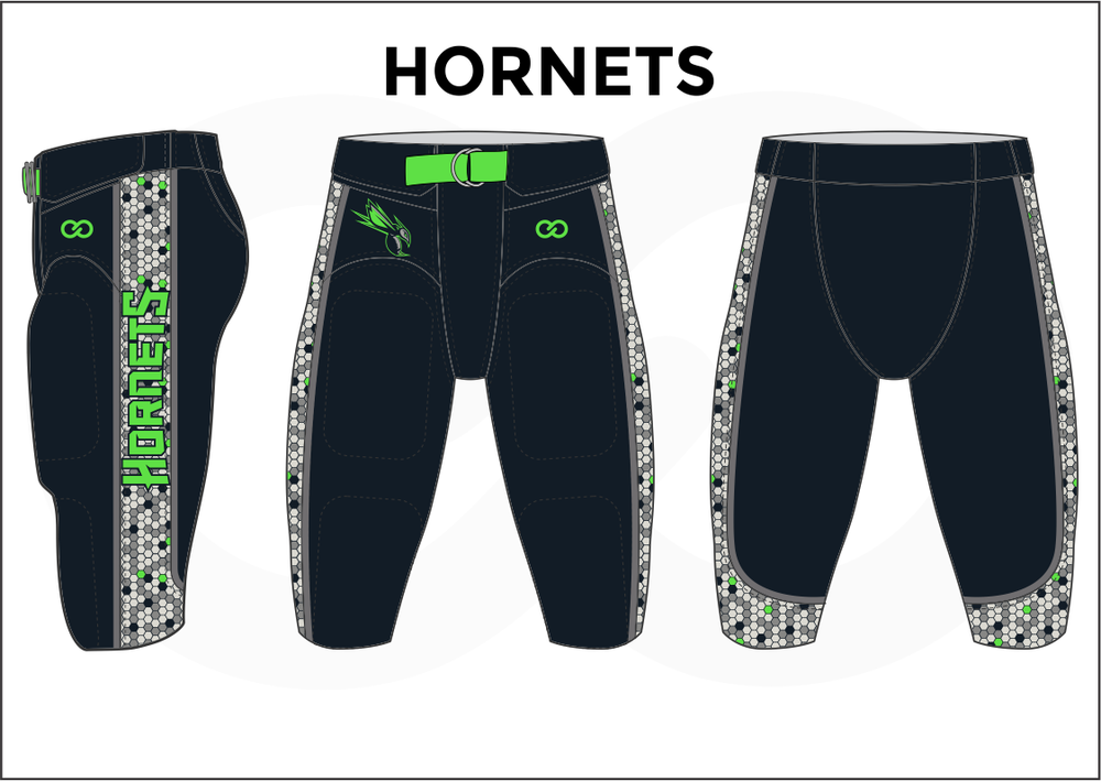 HORNETS Black White and Green Men's Football Pants