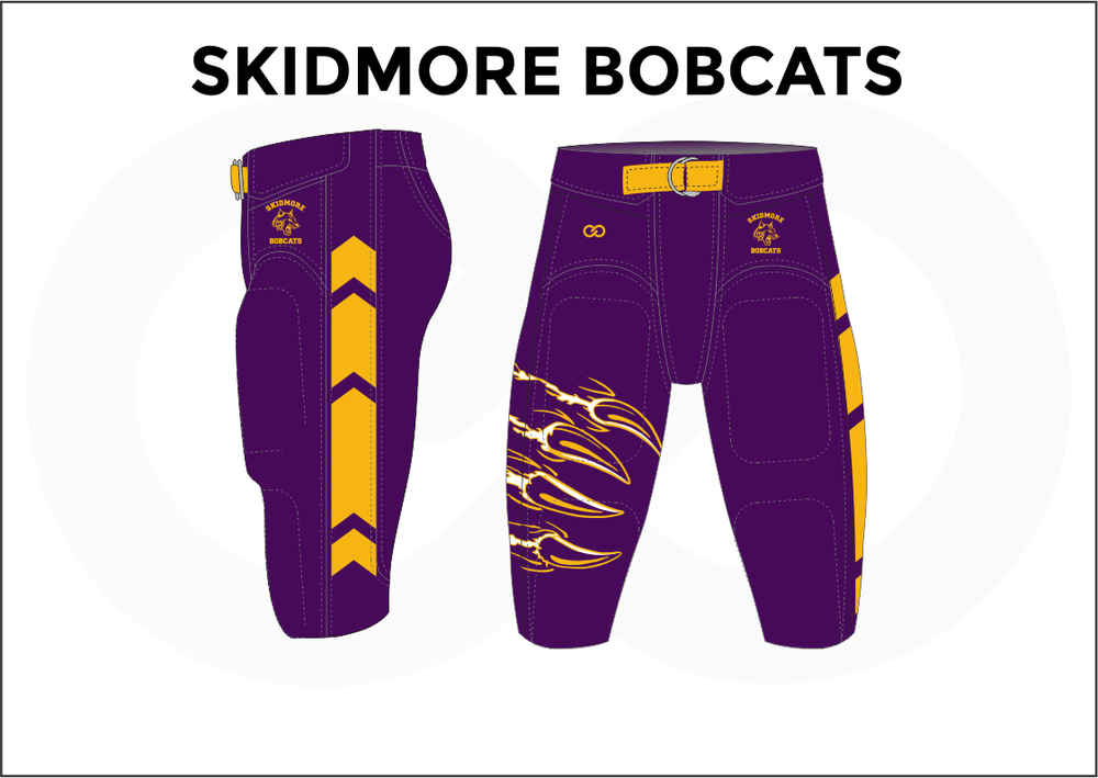 SKIDMORE BOBCATS Violet White and Yellow Men's Football Pants