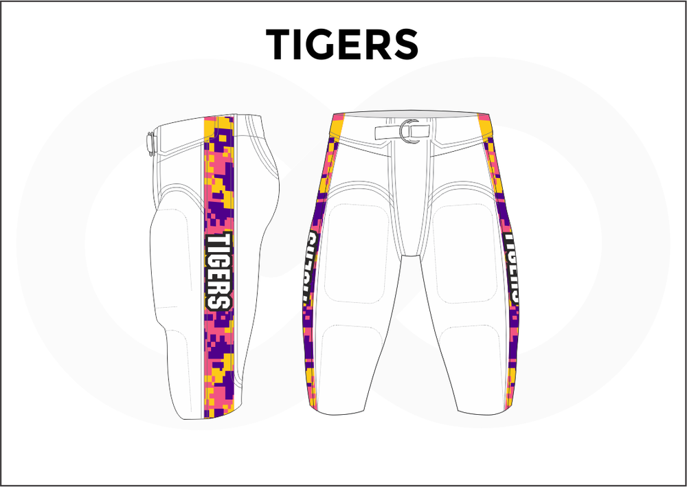 TIGERS Yellow Blue Pink and White Men's Football Pants