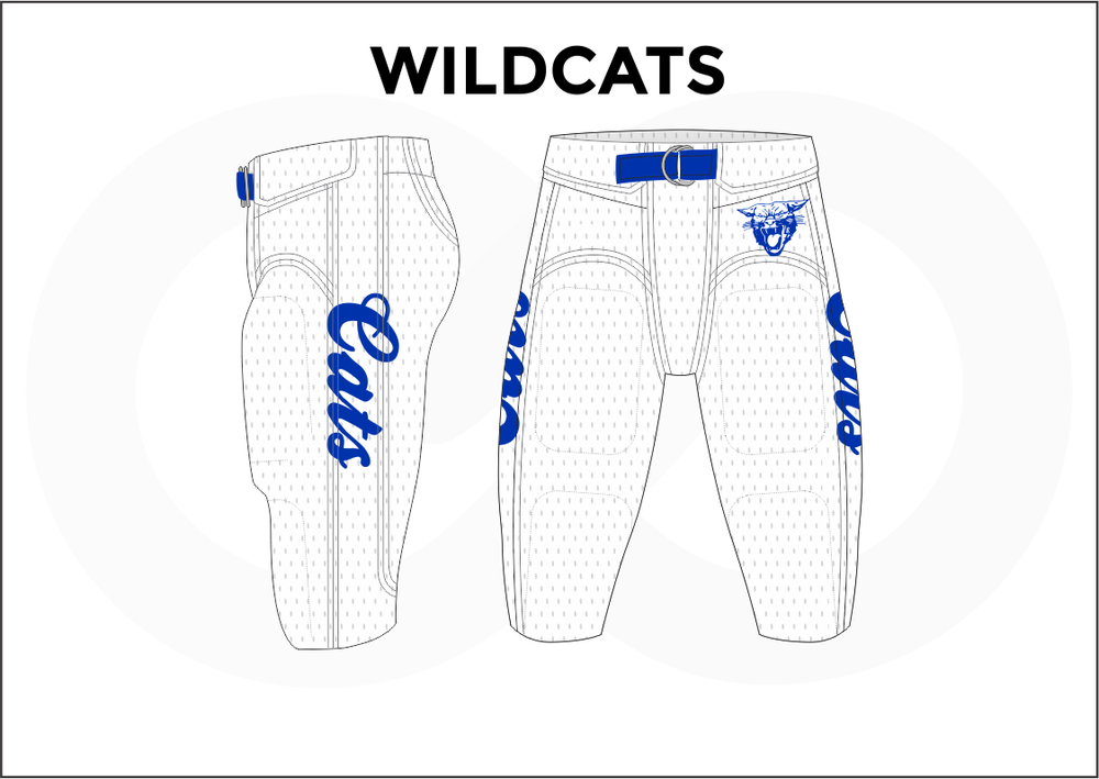 WILDCATS Gray White and Blue Men's Football Pants