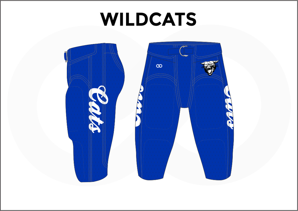 WILDCATS Black White and Blue Men's Football Pants