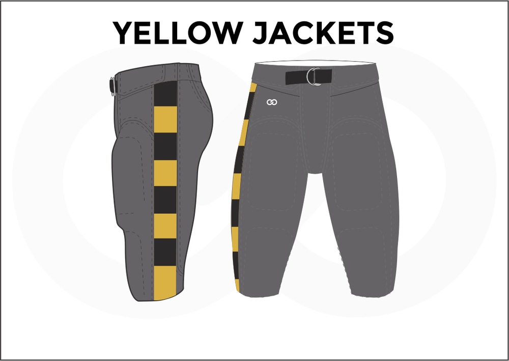 YELLOW JACKETS Gray Black White and Yellow Men's Football Pants