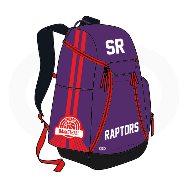 SR RAPTORS Violet Red White and Black Basketball Backpacks Nike Elite