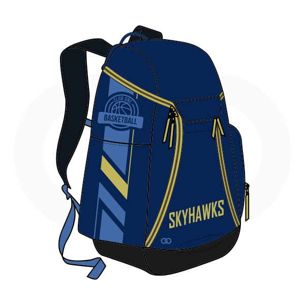 SKYHAWKS Blue Black and Yellow Basketball Backpacks Nike Elite