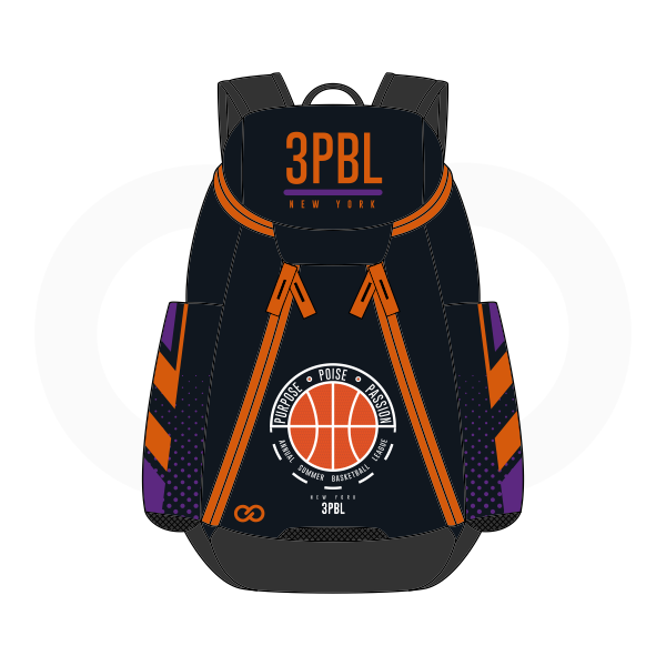 3PBL Black Violet White and Orange Basketball Backpacks Nike Elite