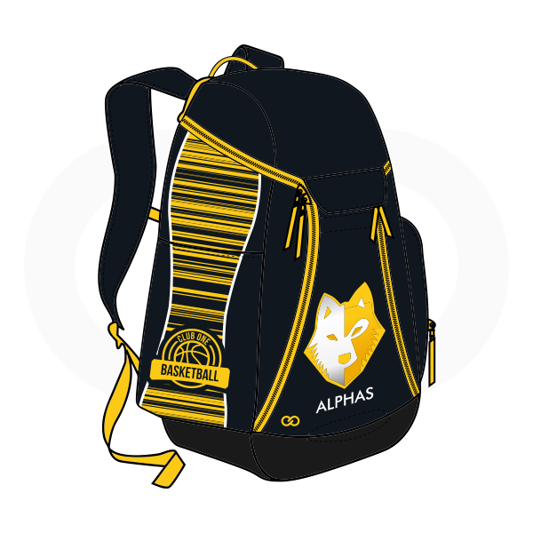 ALPHAS Black White and Yellow Basketball Backpacks Nike Elite
