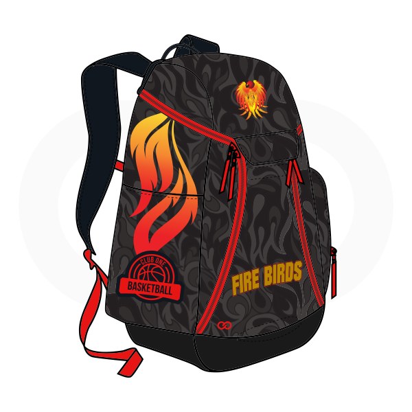 FIRE BIRDS Gray Black Red Yellow Basketball Backpacks Nike Elite