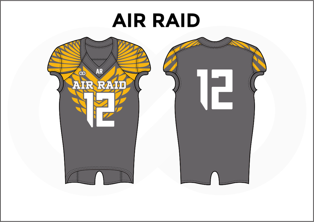 AIR RAID Gray White and Yellow Practice Football Jerseys