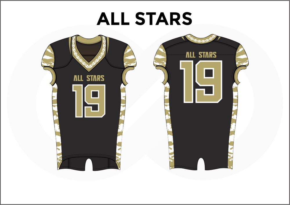 ALL STARS Black Brown and White Practice Football Jerseys