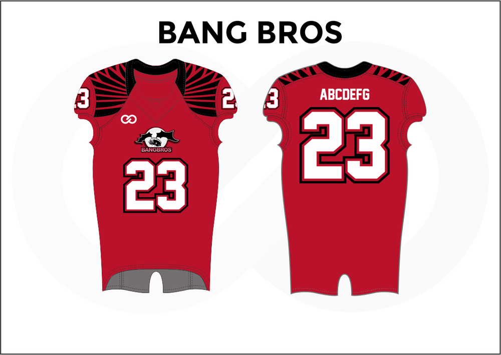 BANGS BROS Black White and Red Practice Football Jerseys